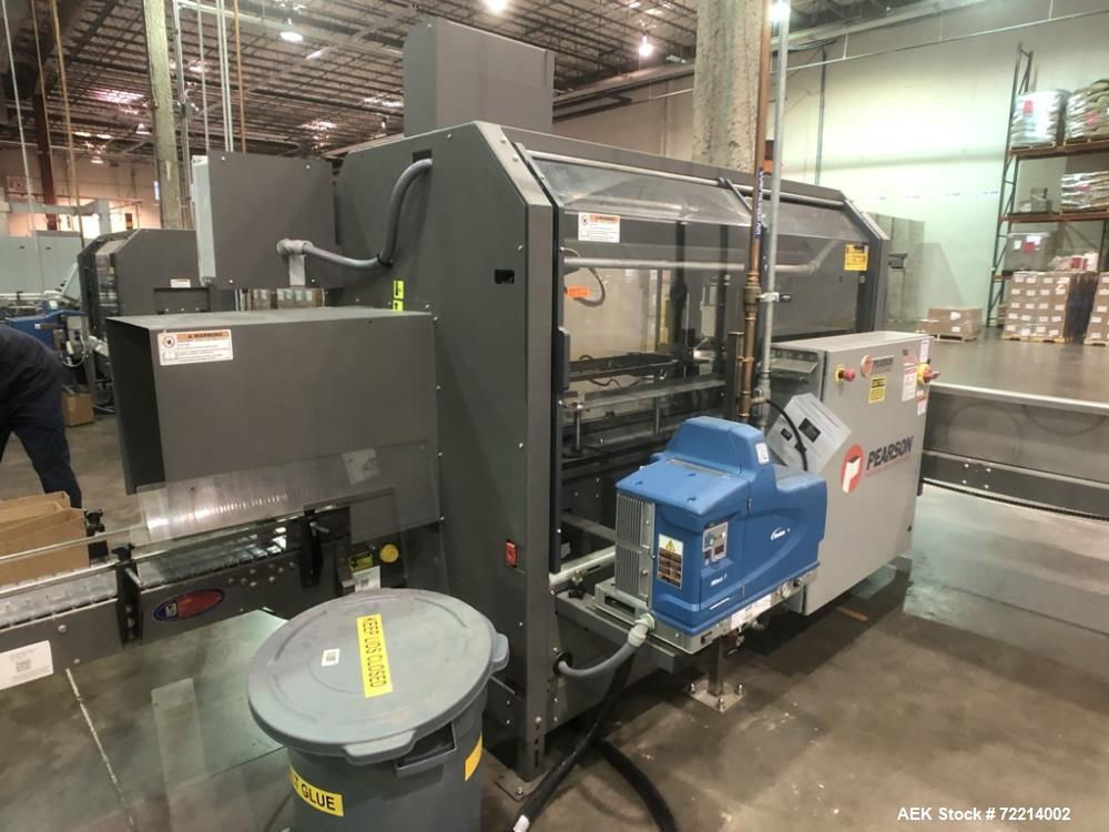 Used- Pearson, Model CE25-G Automatic Case Erector and Bottom Hot Melt Glue Righ