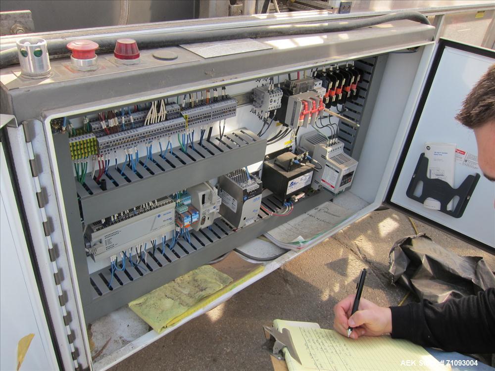 Used-Pearson Case Erector Bottom Sealer. Glue bottom seal (hot melt missing). Powered case magazine. Allen Bradley MicroLogi...