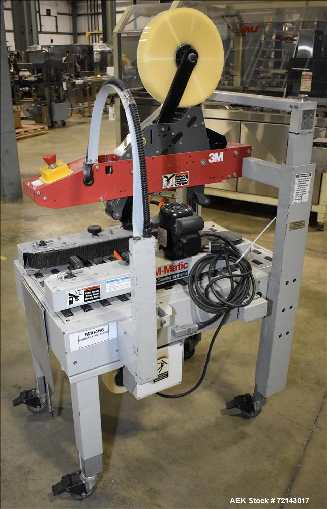 Used-3M Model 120A Adjustable Top and Bottom Case Sealer. Machine can seal a maximum of 30 boxes a minute depending on box s...