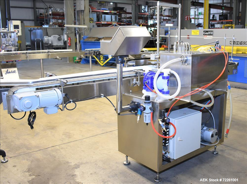 Used- Accutek 6 Automatic Vacuum Filling Line for Glass bottles, Model Accu-Vac