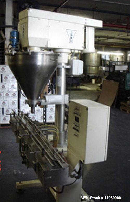 "Used-Complete Powder Filling Line. Includes the following equipment:48"" diameter accumulating table, AMS model A-100 auger f..."
