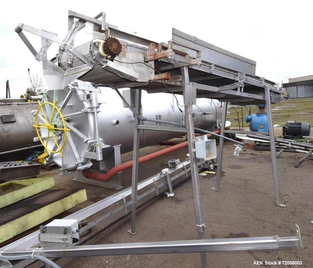 """Used- Incline Belt Conveyor. Stainless steel wire mesh belt approximate 18"""" wide x 132"""" long, requires a motor. Mounted on a..."""
