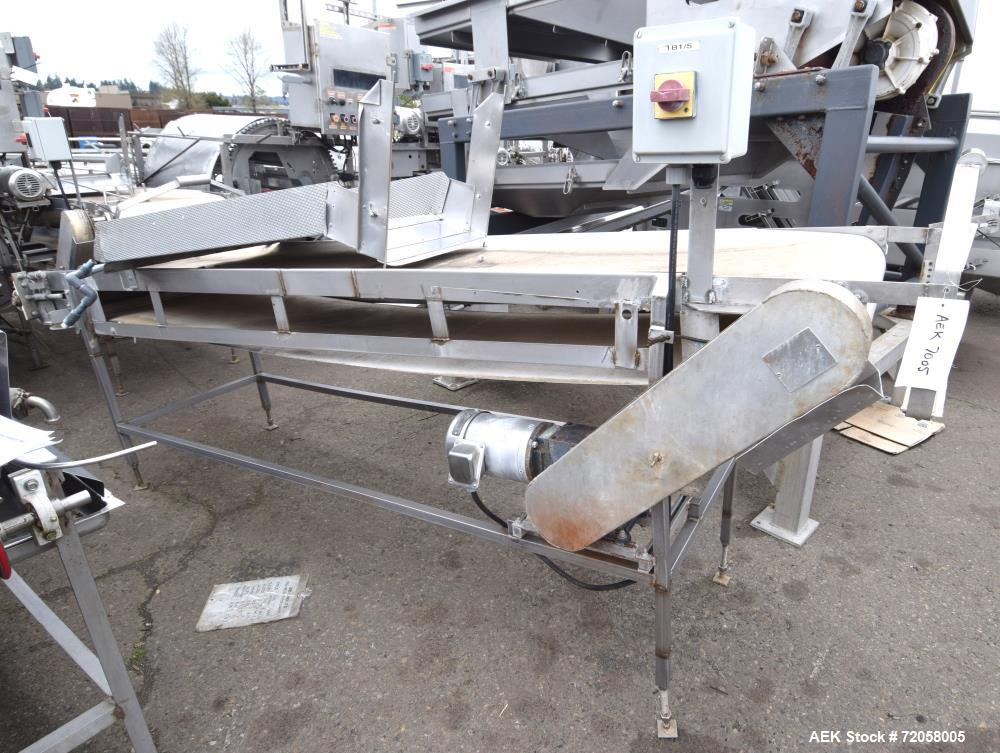 """Used- Incline Belt Conveyor. Rubber belt approximate 24"""" wide x 120"""" long. Approximate 46"""" discharge height. Driven by a 1hp..."""