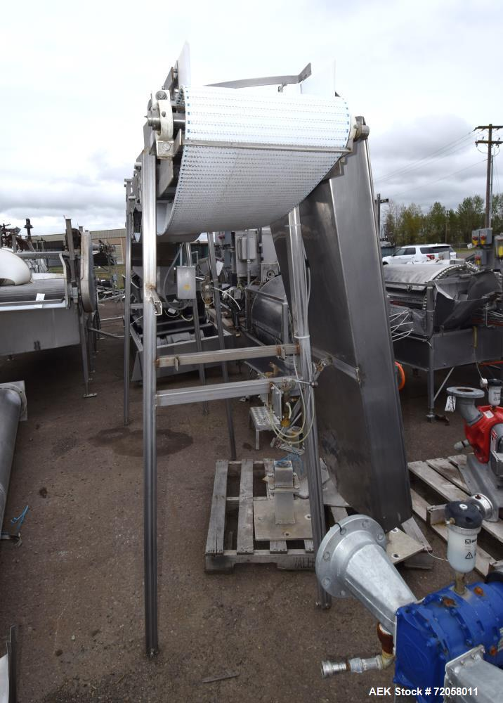 """Used- Belt Conveyor. Plastic belt approximate 18"""" wide x 150"""" long. Driven by an approximate 1hp gear motor. Mounted on a st..."""