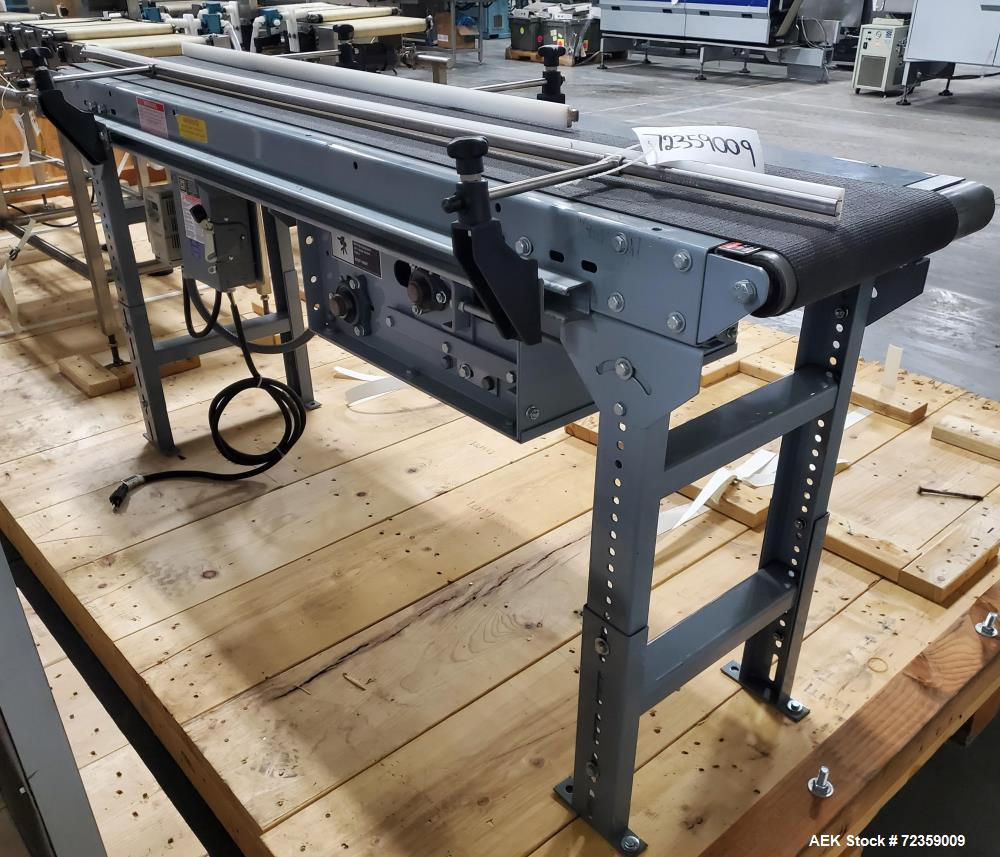 """Used- Belt Conveyor. Belt approximately 78"""" long x 12"""" wide. Includes Delta S1 controller. Mounted on (2) adjustable height ..."""