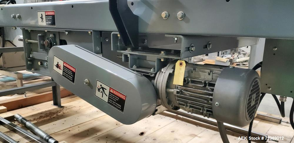 """Used- Belt Conveyor. Belt approximately 24"""" wide x 248"""" long. Includes Delta S1 controller. Mounted on (3) adjustable height..."""