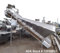 "Used- Incline Belt Conveyor. Rubber belt approximate 30"" wide x 132"" long. Approximate 96"" discharge height. Driven by an ap..."