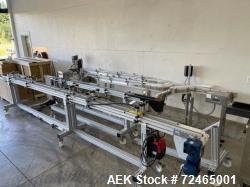 "Garvey and Modu Systems Dual Lane Belt Conveyor, Plastic Belt. (2) Approximate 3-1/4"" wide x 12' lo..."