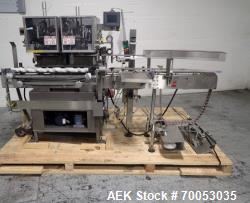 Used Lakso twin head cotton inserter, model 300, speeds up to 300 bottles/minute, with timing screw ...