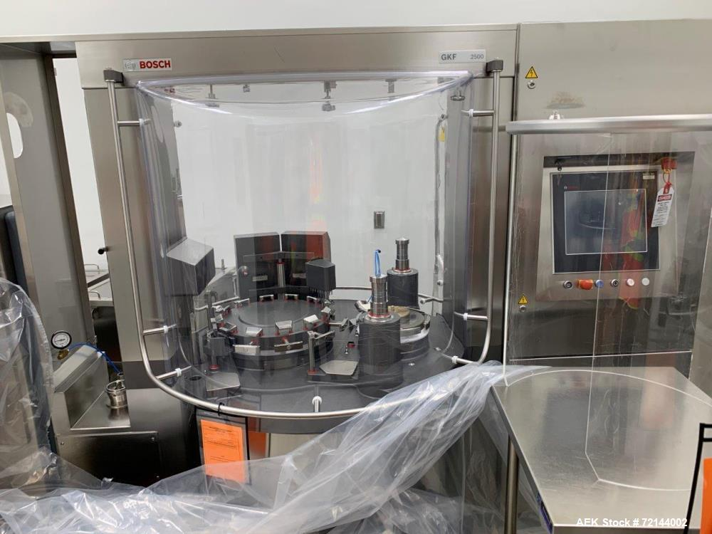 Used- Bosch GKF 2500 Capsule Filler with Integrated KKE 2500 Checkweigher (sold only as a system). Last running powders. A b...