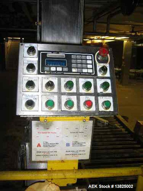 Used-Drum filling line designed to fill 4 drums on a pallet. PLC controlled pallet transfer system, room for 2 pallets stagi...