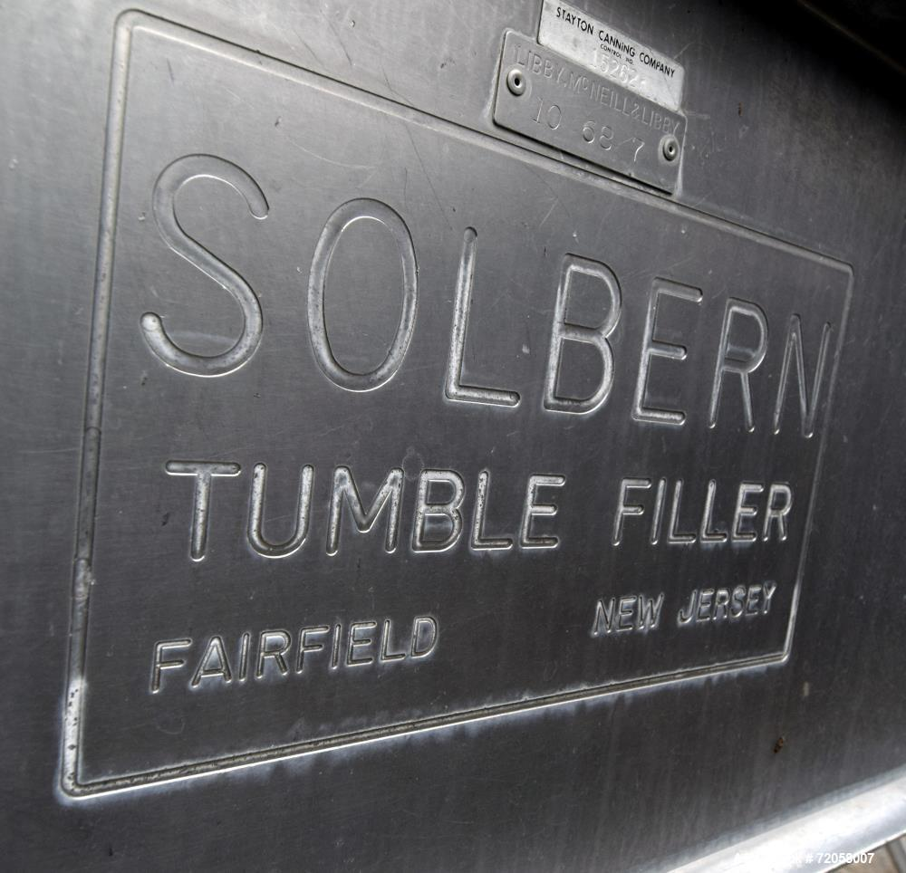 Used- Solbern FTF Tumble Filler, Stainless Steel. Set up for 300 x 407 cans. Missing covers, air pulse and internal product ...