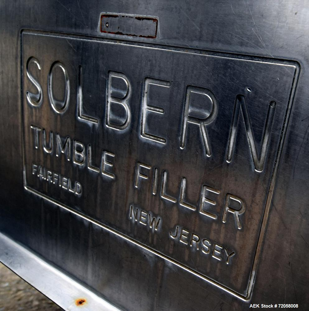 Used- Solbern PTF Tumble Filler, Stainless Steel. Set up for 300 x 407 cans. (4) Fixed drives, air pulse, oscillating rails,...