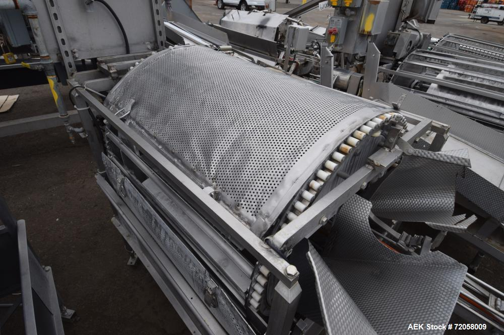 Used- Solbern PTF Tumble Filler, Stainless Steel. Set up for 300 x 407 cans. (3) Fixed drives, oscillating rails, perforated...