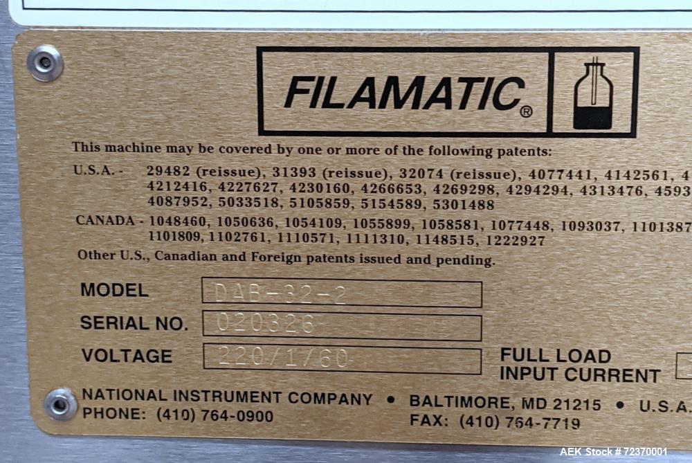 Filamatic DAB-32-2 Series Heavy Duty Filling Machine