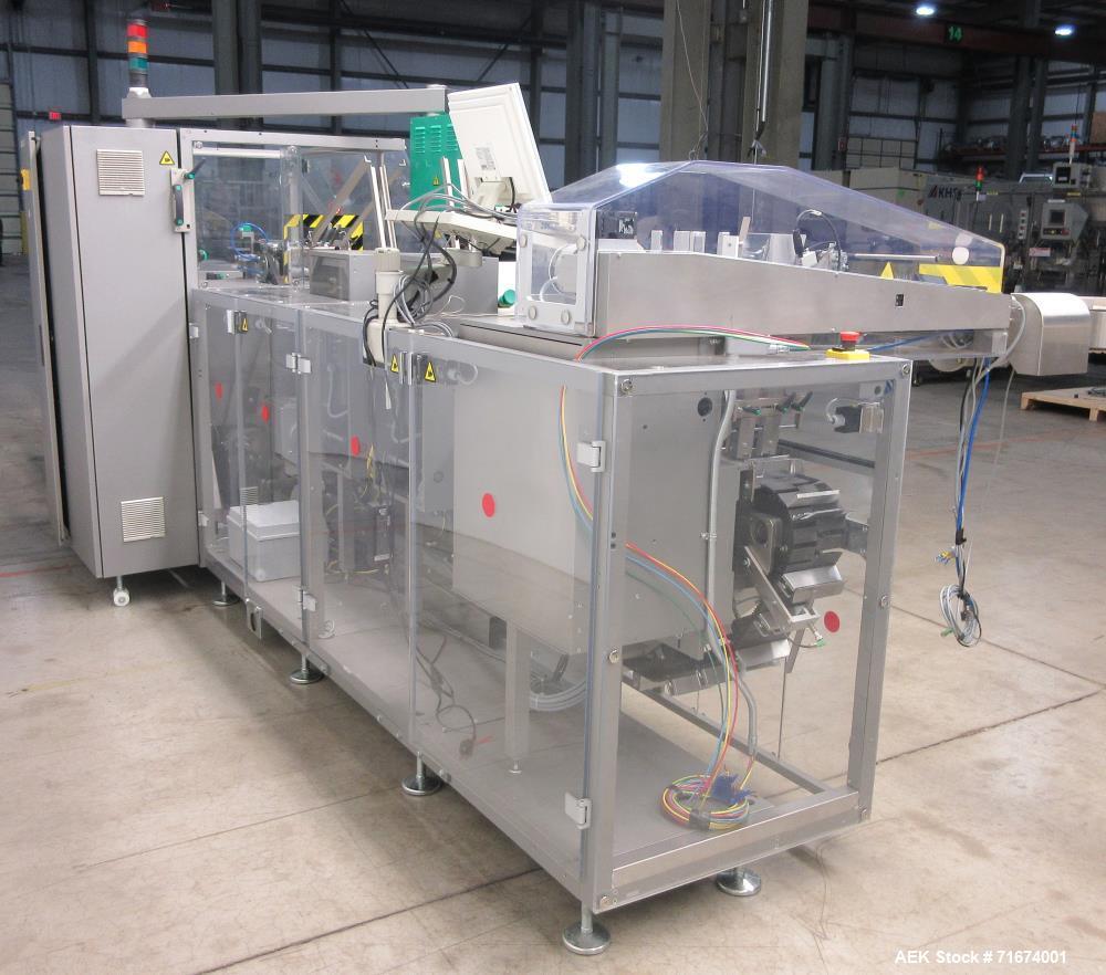 Uhlmann UPS 1020 Pharmaceutical Blister Packer with Marchesini MA155A Cartoner