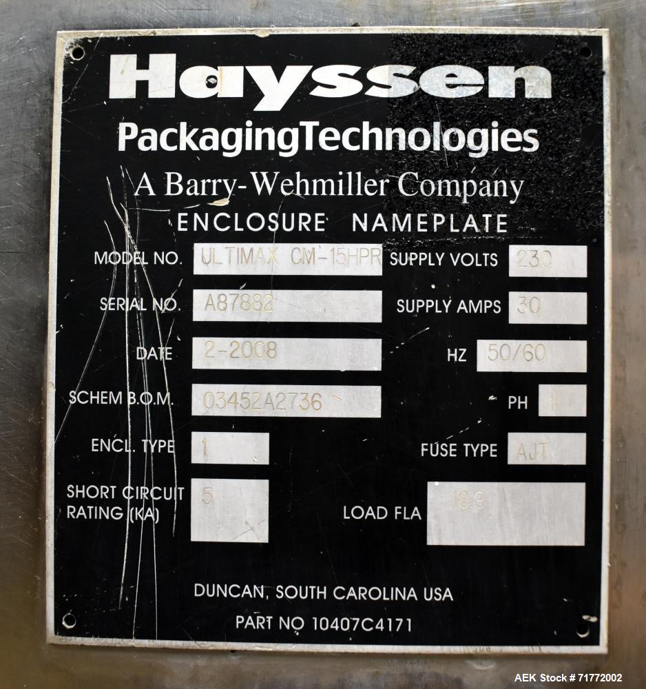 Used- Hayssen Ultimax CM-15 Continuous Motion Vertical Washdown Form Fill Seal B