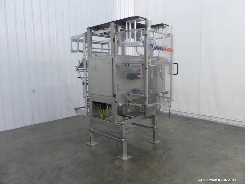 Used- Viking Masek M400 Vertical Form Fill and Seal. Capable up to 100 bags per minute. Intermittent motion. Bag size range:...