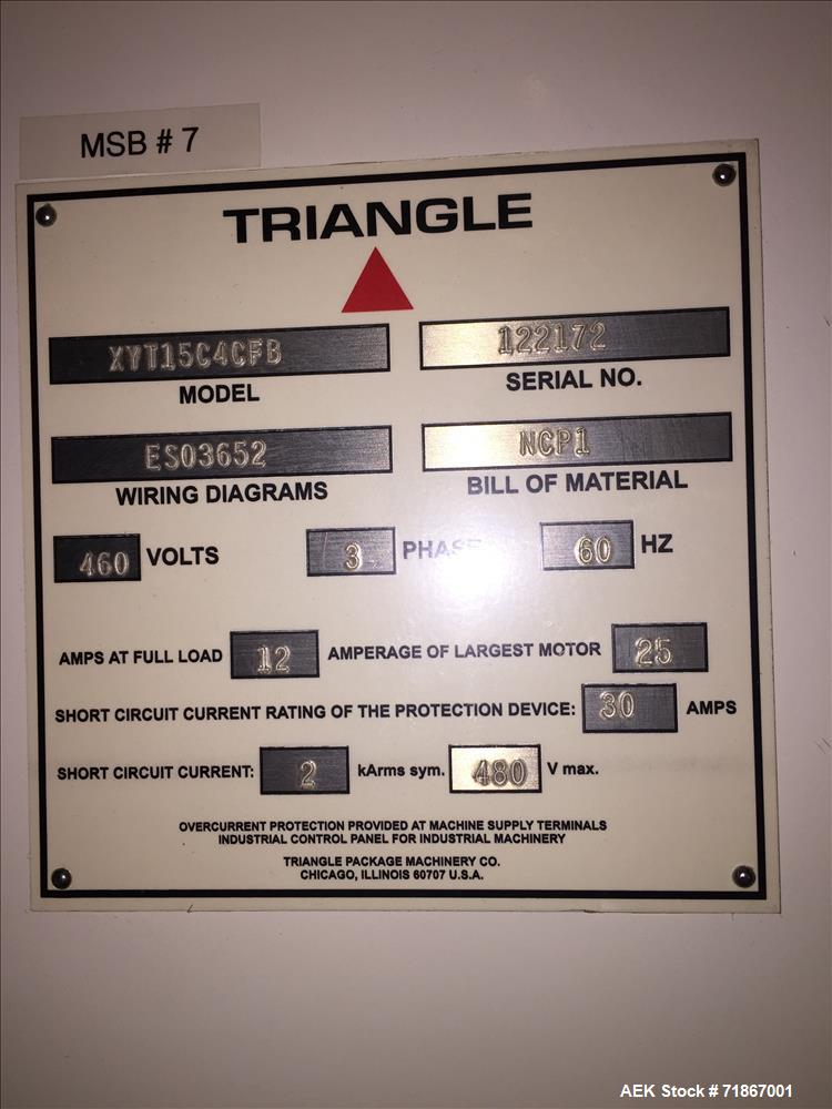 Used- Triangle Model XYT15C4CFB Quad Seal Low Ceiling Height Form Fill Seal