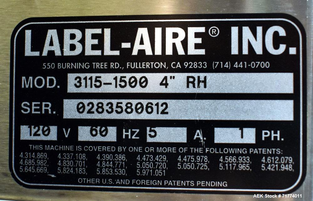 Used- Label Aire Tamper Evident Front and Back Labeler/Carton Wafer Sealer.