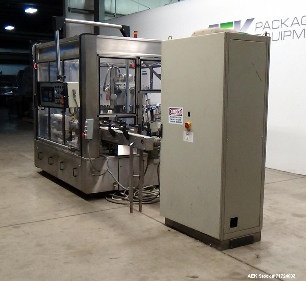 Used- P.E. Labeler Non-Stop Front and Back Rotary Pressure Sensitive Labeler