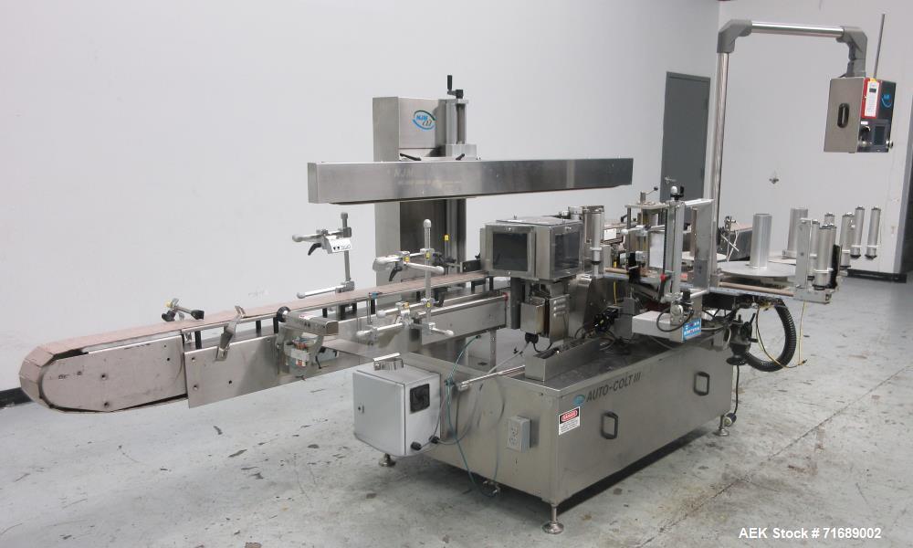 Used- New Jersey Machine Auto-Colt III Automatic Wraparound Labeler