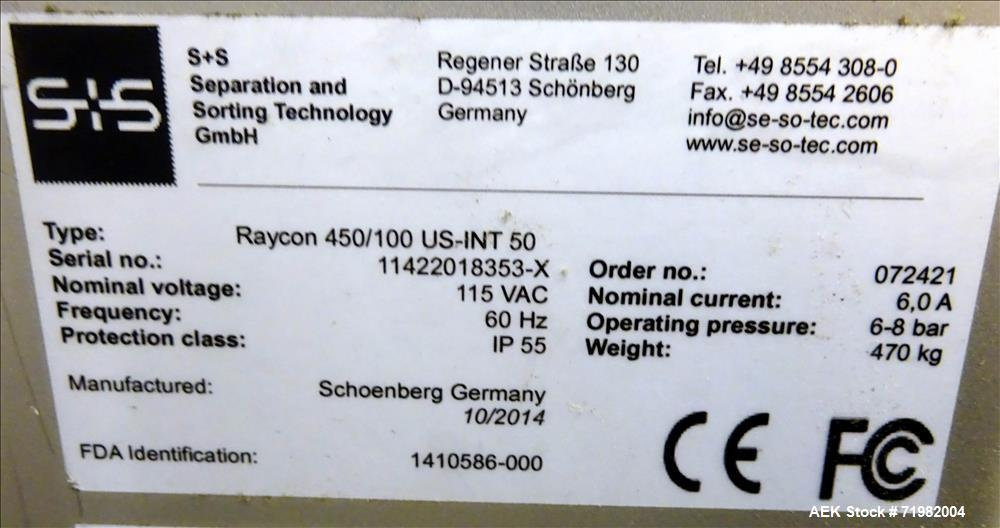 Used- Sesotec Raycon X-Ray Food Inspection System, Type 450/100 US-INT 50. Serial # 11422018353-X. Has an integrated conveyo...