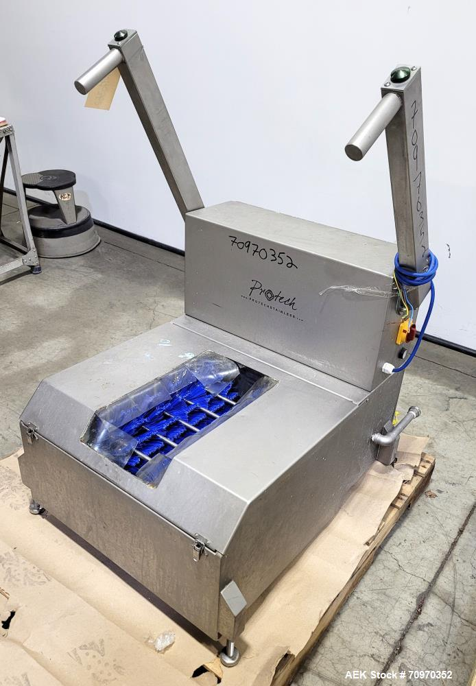 Used- Protech Motorised Sole Washer Model AMSW10. Made of 304 stainless steel. 1/60/120v. Purchased for installation at infa...