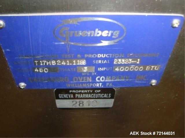 Used- Gruenberg Oven Company, Inc. T17HS241.11SS Granulation Drying Oven, Input: 400,000 BTU With Oven Control Panel. Includ...