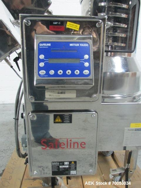Used-Used Pharmatech deduster metal detector combination unit, model Combi 500 ST, stainless steel product contact surfaces,...