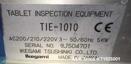 Used- Ikegami Tsushiki Co. LTD Tablet Inspection System/Line, Model TIE-1010