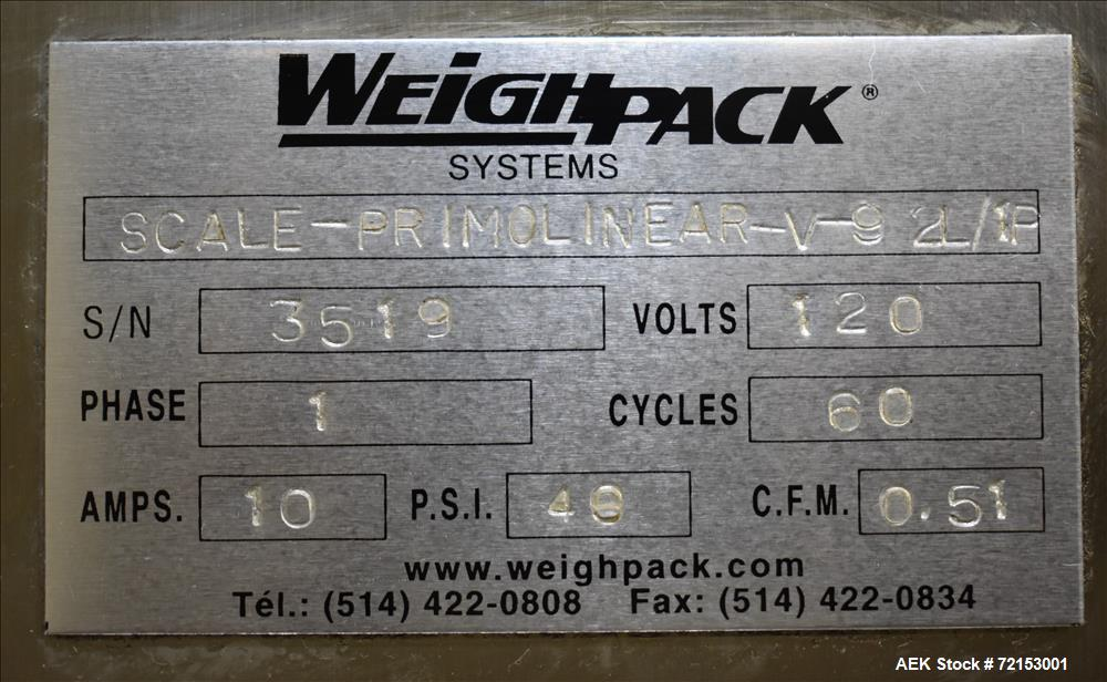 Used- Weighpack Primo Linear V-9-2L/1F Linear Scale Filler.