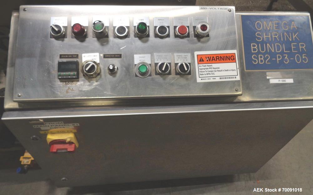 Used- Omega Automatic Dual Lane Shrink Bundler, Model DL27, with SS Shrink Tunnel.
