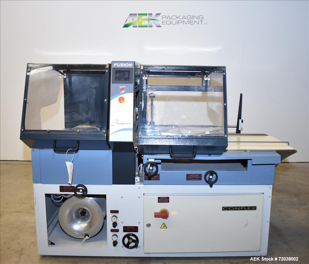 Used-Used-Conflex Model Fusion Intermittent Motion Side Seal Shrink Wrapper. Capable of speeds up to 100' of film per minute...