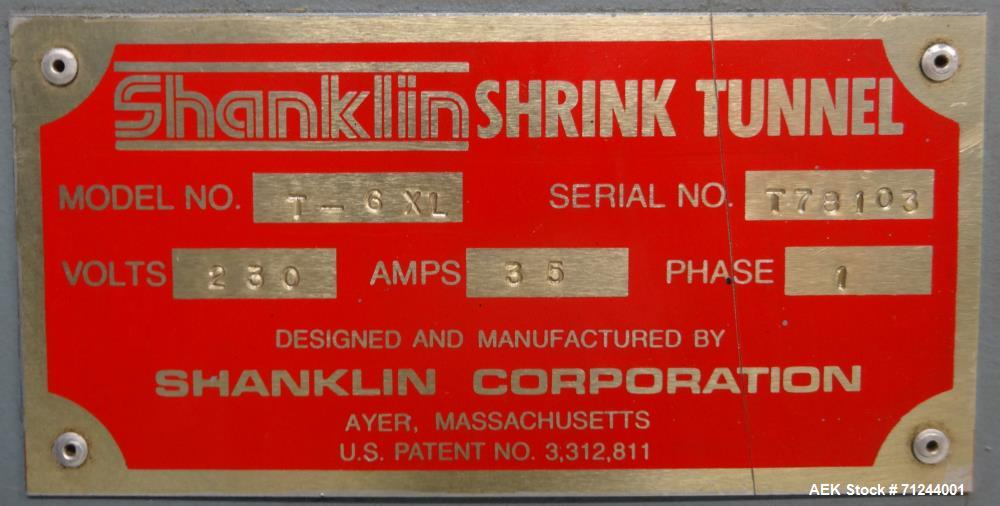 Used- Shanklin Model T-6XL Shrink Tunnel