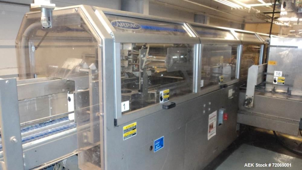 Used- Arpac Traystar Inline, Continuous Motion Gallon Can Tray Packer.