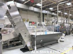 Used- Bulk bottle live bottom hopper with integrated stainless steel elevator.