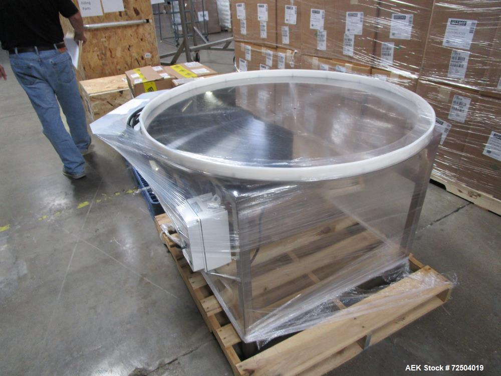 """Used-Approximately 42"""" Diam stainless steel accumulation table."""