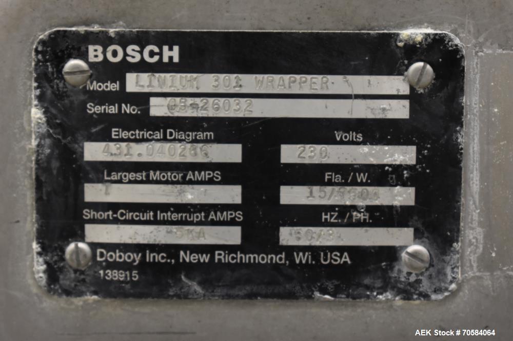 Used- Doboy Model Linium 301 Horizontal Flow Wrapper.