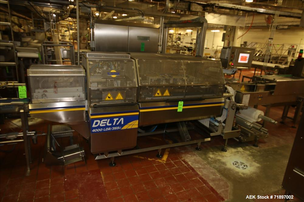 Used-Ilapak Delta 4000 LDR-3SSC Horizontal Flow Wrapper with long dwell and zipper attachment. Has automatic smart belt feed...