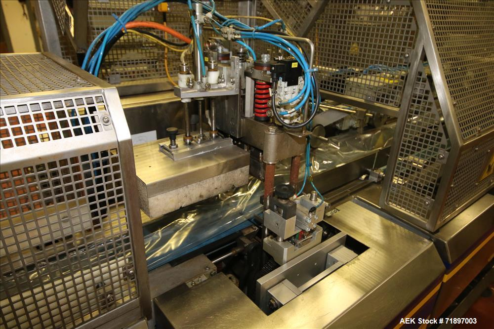 Used-Ilapak Delta 4000 LDR-3SSC Horizontal Flow Wrapper with long dwell and zipper attachment. Has extended fram lugged chai...