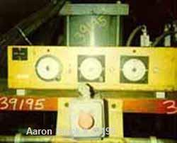 """USED: Hot melt stamping press, downacting, 4 post type. 2"""" diameter threaded rod. Electrically heated platen 23"""" front-back ..."""
