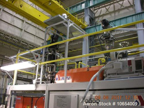 "Used-APV Blow Molding Machine, Model LS2.  2.5 lb, single accumulator head, 2.5"", 24:1 extruder, Maco 8000 controls, 20"" x 2..."