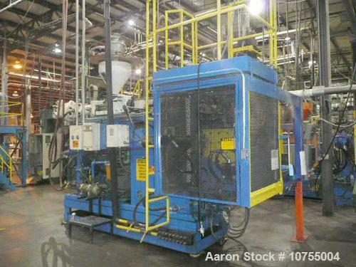 "Unused-Used: Impco model B30-R180 twin head blow molding machine. 3.75"" screw diameter, 20:1 L/D cantilevered clamp with 30""..."