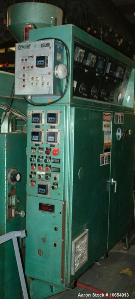 "Used-Uniloy Reciprocating Blow Molding Machine, Model 5835.  4 x 8"" Head, 3"" extruder, 75 hp AC drive, trimmer, 460/3/60 pow..."