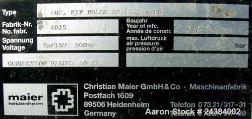 "Used- Maier 47"" Wide Nip Roll station, Model AP1200"