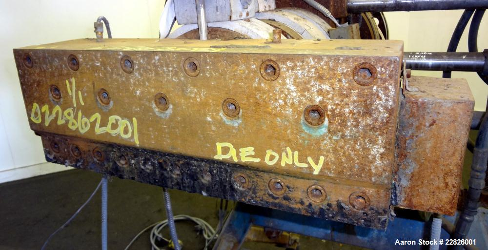 Used- Barrel Mounted 30 Hole Strand Die. No manufacturers tag. Last used on a 110mm twin screw extruder.