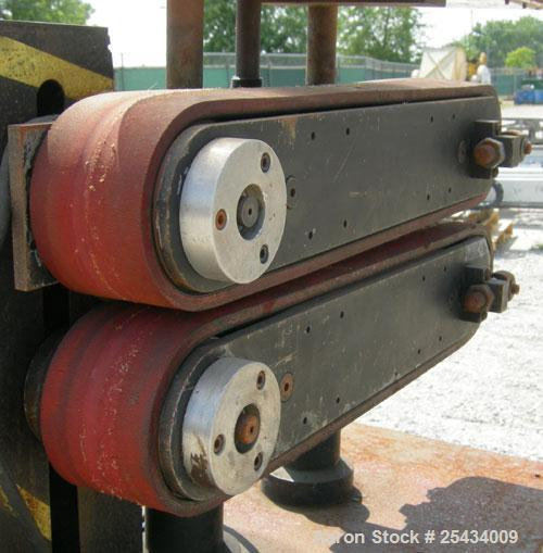 """Used-  Puller, (2) 3"""" wide x 22"""" long belts.  Manually adjustable height.  Driven by a 1/2 hp, 90 volt, 1750 rpm DC gearmoto..."""