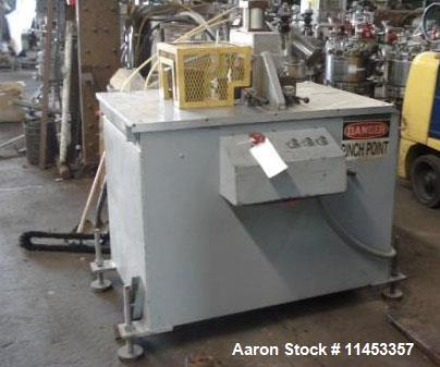 """Used- Pipe Saw, 16"""", mounted on a pneumatically operated clamp table. 18"""" of table travel."""