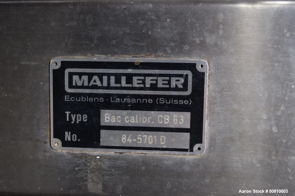 Used- Maillefer Vacuum Sizing Tank, Model CB 63